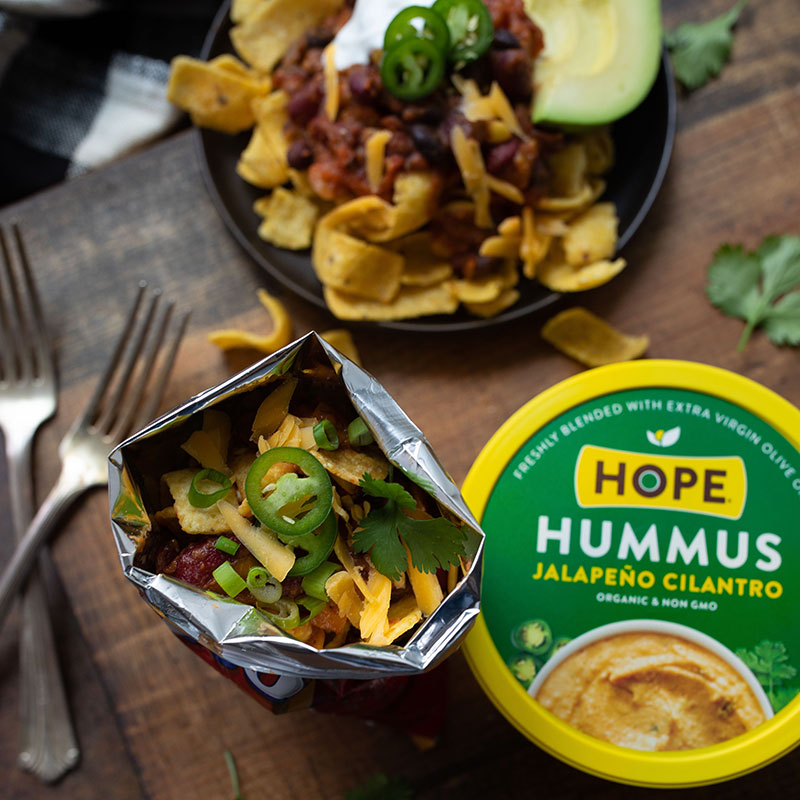 Frito Pies with Cast Iron/ or Instant Pot Jalapeno Cilantro Hummus Chil