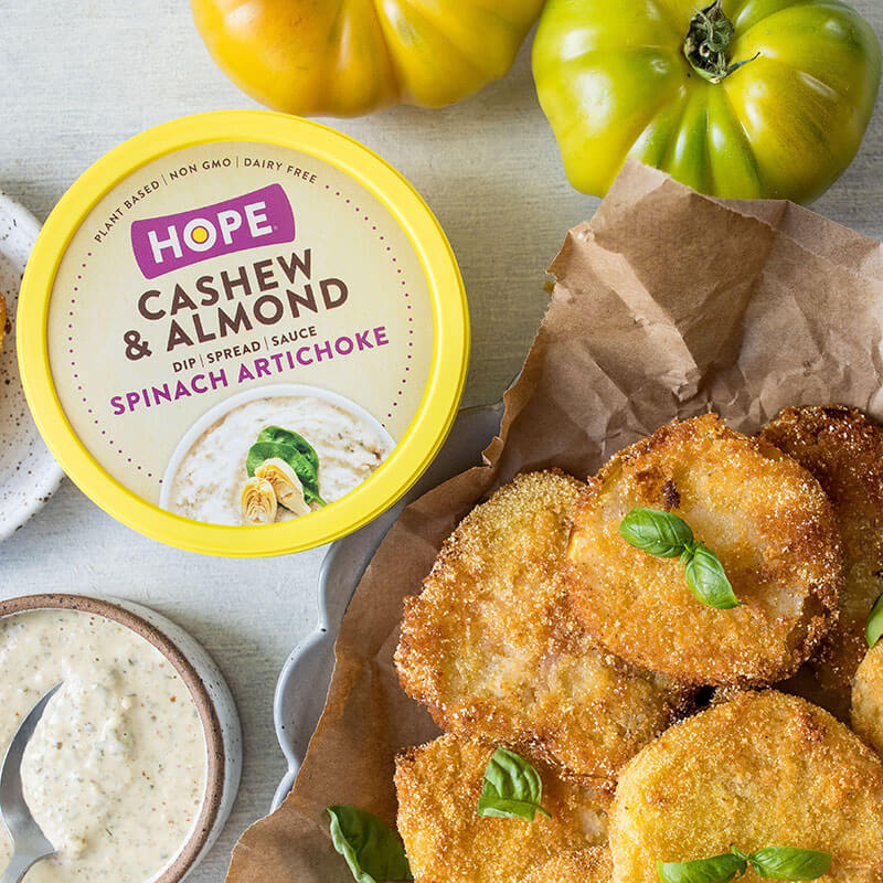 Air-Fryer Fried Green Tomatoes with HOPE Spinach Artichoke Cashew & Almond Dipping Sauce